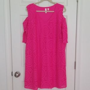 2x hot pink cold shoulder dress